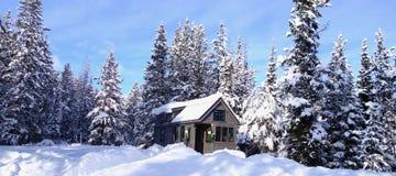 Uiterst klein Huis in de Winter Stock Foto