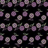 Uiterst kleine bloemen op zwarte kleurenachtergrond Royalty-vrije Stock Afbeeldingen