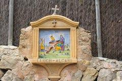 Uiterst kleine godsdienstige altaar dwarsstraten, Deia, Majorca Royalty-vrije Stock Fotografie