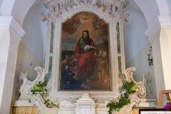 Uiterst kleine kapel gewijd aan de legende op de komst van Saint Paul aan Galatina stock afbeeldingen