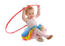 Uiterst kleine Peuterdanser Student met Hula-Hoepel Royalty-vrije Stock Foto's