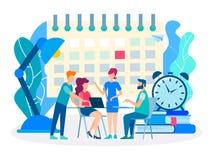 Uiterste termijn, bespreking van businessplannen stock illustratie