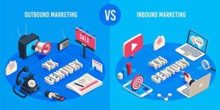 Uitgaande en binnenkomende marketing Isometrische markt reclamegeneraties, de online magneet van de marktenverkoop en advertentie vector illustratie