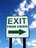 Uitgang van crisisteken Stock Afbeeldingen