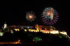 Uitgangsfestival 2015 - vuurwerk voor het openen Stock Fotografie