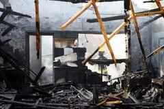 Uitgebrand Huis stock foto