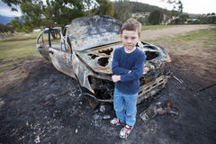 Uitgebrande Auto Royalty-vrije Stock Foto's