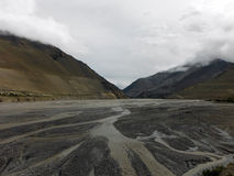 Uitgebreide Rivierdelta in Himalayagebergte tijdens Moesson royalty-vrije stock afbeelding