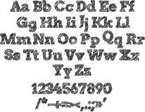 Uitgebroed alfabeth en aantallen voor ontwerp Stock Afbeelding