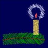 Uitgebroede Kerstmiskaars Stock Afbeelding