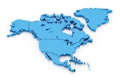 Uitgedreven kaart van Noord-Amerika met nationaal Stock Afbeelding