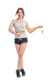Uitgemergeld gelukkig meisje met centimeter Royalty-vrije Stock Foto's