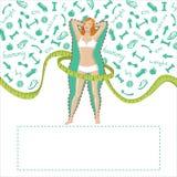 Uitgemergeld meisje met silhouet van fatlcijfer Royalty-vrije Stock Afbeelding