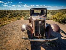 Uitgeput autowrak op route 66 dichtbij Holbrook in Arizona, Stock Afbeelding