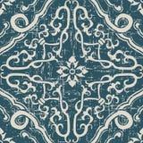 Uitgeputte antieke naadloze achtergrond spiraalvormige dwarskaderbloem Royalty-vrije Stock Afbeelding
