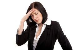 Uitgeputte, beklemtoonde vrouw - onderneemster Stock Foto's