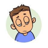 Uitgeputte jonge kerel Vlak ontwerppictogram Vlakke vectorillustratie Geïsoleerdj op witte achtergrond stock illustratie