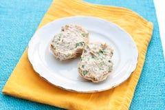 Uitgespreid brood met tonijn Stock Foto's
