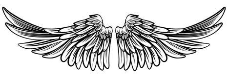 Uitgespreid Paar van Engel of Eagle Wings Royalty-vrije Stock Afbeeldingen