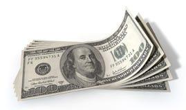 Uitgespreide Amerikaanse dollarbankbiljetten Stock Afbeeldingen
