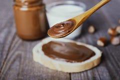 Uitgespreide chocolade en hazelnoot royalty-vrije stock foto