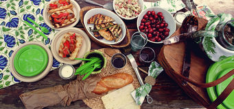 Uitgespreide picknick Royalty-vrije Stock Afbeelding