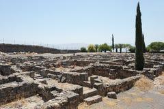 Uitgravingen van de oude stad van Capernaum stock afbeeldingen
