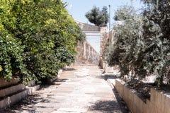 Uitgravingen van de oude straat dichtbij Dung Gates in de Oude Stad van Jeruzalem, Israël stock afbeeldingen