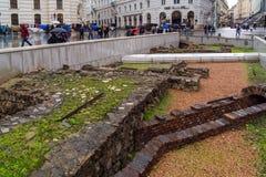 Uitgravingen van de overblijfselen van een Roman nederzetting, Wenen, Austri stock foto