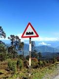 Uithangbord bij Dochula-Pas, Bhutan stock foto's
