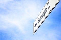 Uithangbord die naar Nieuwegein richten stock foto's