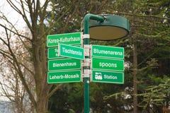 Uithangbord in Donaupark in Wenen Stock Foto