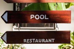 Uithangbord op het strand bij hotel, Koh Samui Royalty-vrije Stock Foto