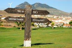 Uithangbord in Porto Santo golfcursus Porto Santo eiland, Madera portugal Stock Foto's