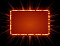 Uithangbord retro stijl met lampen Uitstekende banner met gloeilampen Stock Fotografie