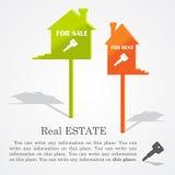 Uithangborden van huizen (verkoop en huur) stock illustratie