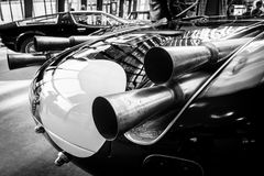 Uitlaatpijpen van een sportenraceauto Maserati Tipo 63 Birdcage, 1959 Royalty-vrije Stock Fotografie