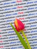 Uitnodiging; gelieve te komen aan de partij. Royalty-vrije Stock Foto
