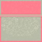 De Kaart van de uitnodiging met de Witte Silhouetten van de Bloem Royalty-vrije Stock Foto's