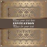 uitnodiging Gouden kantpatroon Stock Afbeelding