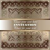 uitnodiging Gouden kantpatroon Royalty-vrije Stock Foto's