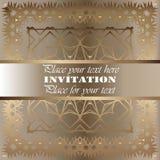 uitnodiging Gouden kantpatroon Royalty-vrije Stock Afbeelding