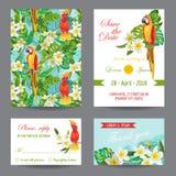 Uitnodiging of Groetkaart met Tropische Vogels wordt geplaatst die stock illustratie
