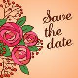 Uitnodiging of huwelijkskaart met bloemenachtergrond royalty-vrije illustratie