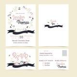 Uitnodiging of huwelijkskaart met bloemenkroonachtergrond Stock Afbeelding