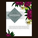 Uitnodiging met bloemenachtergrond Stock Foto's