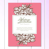 Uitnodiging met bloemenachtergrond Stock Afbeelding