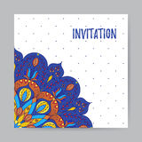 Uitnodiging met Multicolored Mandala5 Stock Foto