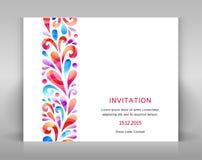 Uitnodiging met ornament Stock Afbeelding