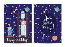 Uitnodiging op Kinderen Gekostumeerde Verjaardagspartij vector illustratie